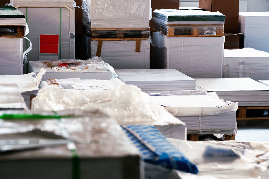Paper (stock) stored in printer warehouse