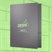 Presentation folder on linen stock with 2 colors of foil stamping