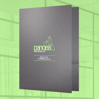 Presentation folder on linen paper with foil stamping