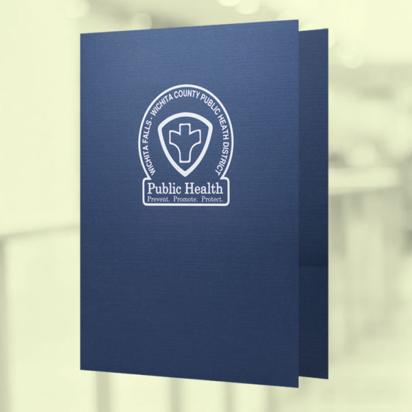 9 x 12 pocket folder on blue linen