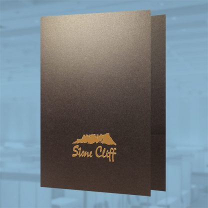 Presentation folder with added foil and emboss