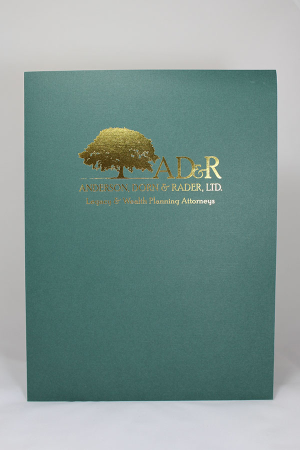Presentation Folder in Green Linen with Foil