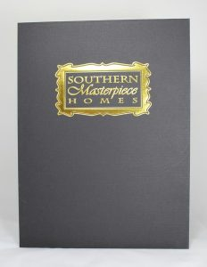 Black linen folder with emboss, gold foil