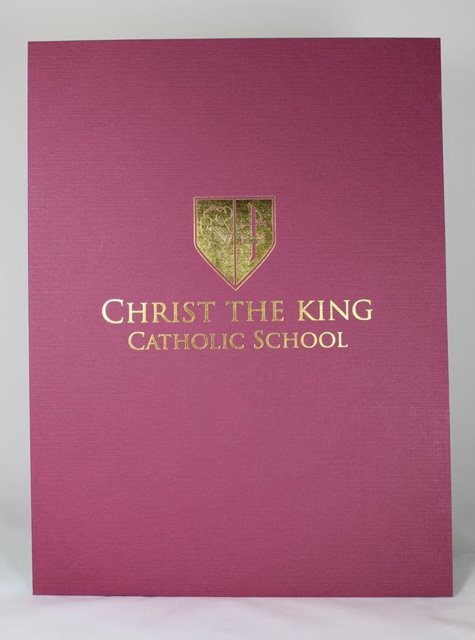 Burgundy linen presentation folder with gold foil