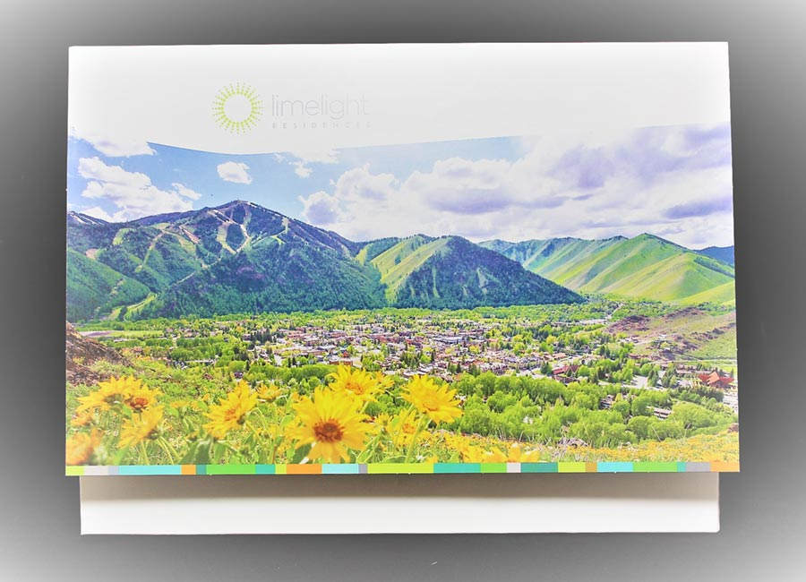 Full color landscape presentation folder with double scored folds